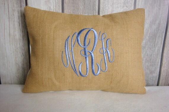 Monogram Burlap. Shabby Chic. Cottage Chic. Burlap Pillow. Pillow Cover