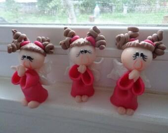 "Handmade Doll Color Fuchsia Praying 2.5"""