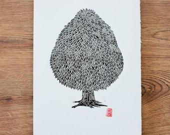 Tree lino Cut / Block Print