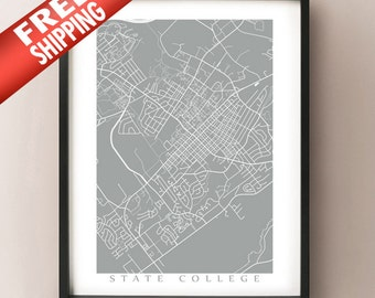 State College City Map - Pennsylvania Poster