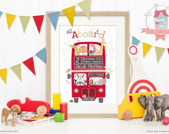Personalised Art Print - All Aboard - London Bus - Childs Birthday / Childs Bedroom / New Baby / Keepsake