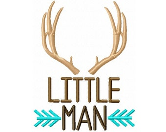 Little Man Antlers and Arrows Custom Embroidery Design -INSTANT DOWNLOAD-