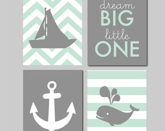 "50% Off Mint Nursery Decor Nautical Nursery Gray and Mint Nursery Nautical Wall Art Nursery Art Dream Big Little One INSTANT DOWNLOAD 8""x10"""