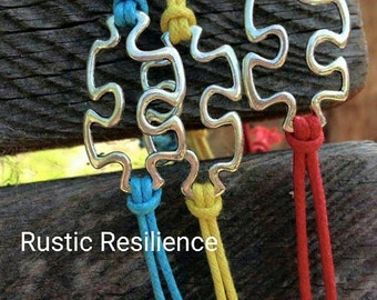 3 Pack Autism Adjustable Puzzle Bracelets
