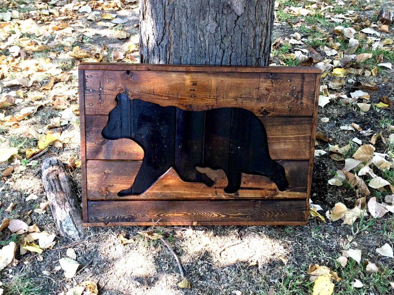 Wooden black bear silhouette pallet sign hunting decor and zoom amipublicfo Choice Image