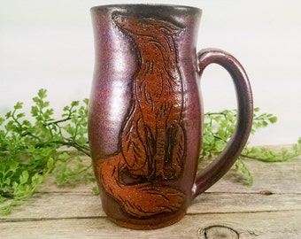 Fox Nature Mug 14 oz - Copper - Wheel Thrown and Hand Carved Coffee Cup
