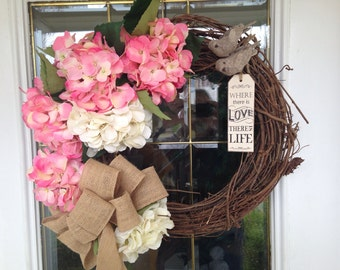 Summer Door Wreath, Grapevine Wreath, Adorable Love Birds, Pink and White Hydrangea Spring grapevine Wreath, May wreath, pink wreath