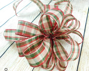 Bow Sale, Christmas Tree Bow, Tree Top Bow, Ribbon Bow, Bow Topper, Lantern Bow, Wreath Bow, Plaid Bow, Bow For Christmas Tree, Garland Bow