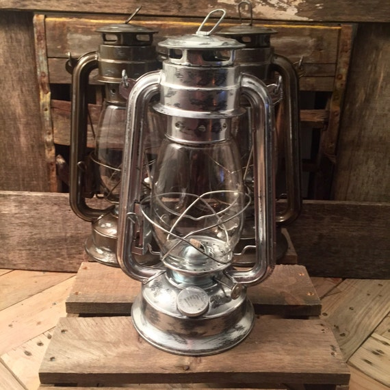 Galvanized silver railroad lantern rustic by recycledrevival