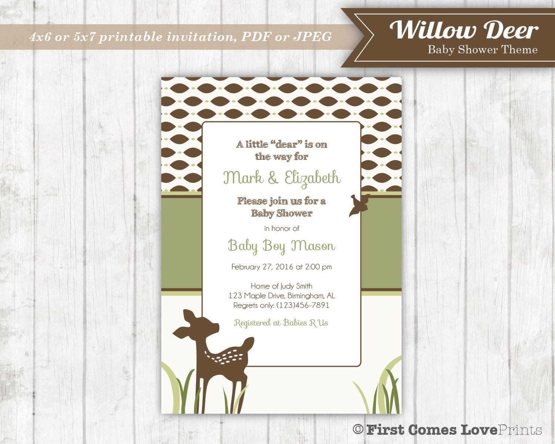 willow deer baby shower invitation baby sprinkle invitation