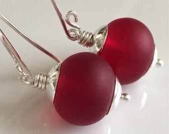 Red Glass Earrings / Sea Glass Earrings / Matte Glass Earrings / Cherry Red Earrings / Sterling Silver Earrings
