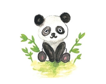 Panda Watercolor Print, Nursery Wall Decor, Panda Painting, Panda Art, Watercolor Art, Nursery Art