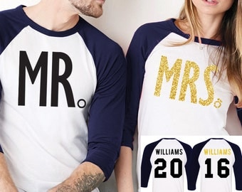 MRS Gold Bride Shirt + MR Groom Baseball Tees CUSTOM Names & Numbers Set Navy Blue, Couples Shirts, Honeymoon Shirts, Couples Baseball Tees
