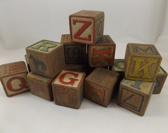 Vintage Wood Blocks Wood Alphabet Blocks Child's Alphabet Blocks Photography Prop