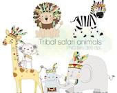 Safari animals clipart, Tribal animals , Woodland Clipart, Instant Download PNG file - 300 dpi