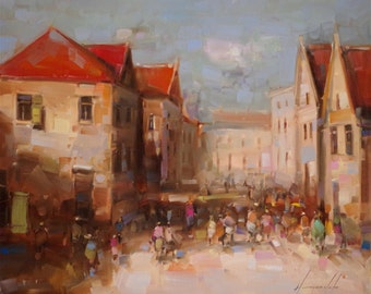 Cityscape oil painting, Through the Boulevard, Original painting in handmade, impressionism, one of a kind