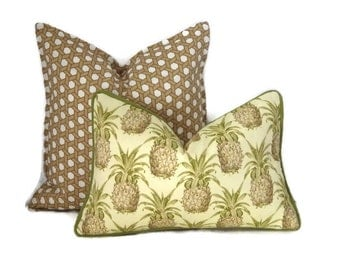 Pineapple  Pillow Cover-Yellow and Green Outdoor Lumbar Pillow-Tropical Outdoor Pillow Cover