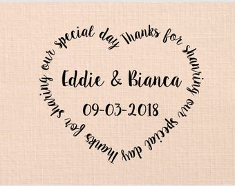 Personalized Handle Mounted or Self Inking - Thanks for sharing our special day - W37
