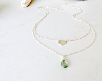 layered aquamarine necklace 925 sterling silver heart necklace moss aquamarine heart jewelry beach wedding bridesmaid sets march birthstone