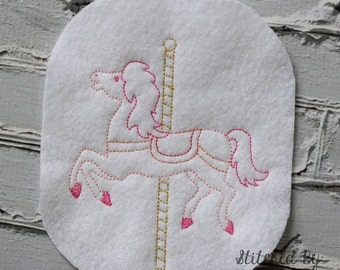 Carousel Horse Sketch - Redwork style  - 3 Sizes Included - DIGITAL Embroidery DESIGN