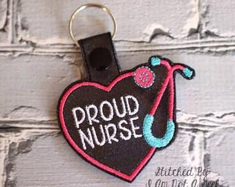 Proud Nurse Stethoscope Key Fob Design -  In The Hoop - DIGITAL Embroidery DESIGN
