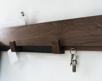 Entryway wall rack - walnut wood