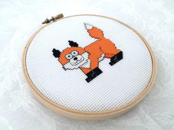 Knitting Room Fond Du Lac : Fox embroidery pdf pattern forest cross stitch