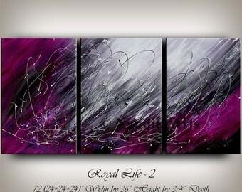 "Purple ABSTRACT PAINTING, Original Modern Art on Canvas, Fuchsia Contemporary Art 72"" Abstract Oil Art Wall Hanging, Home Decor, Wall Art"