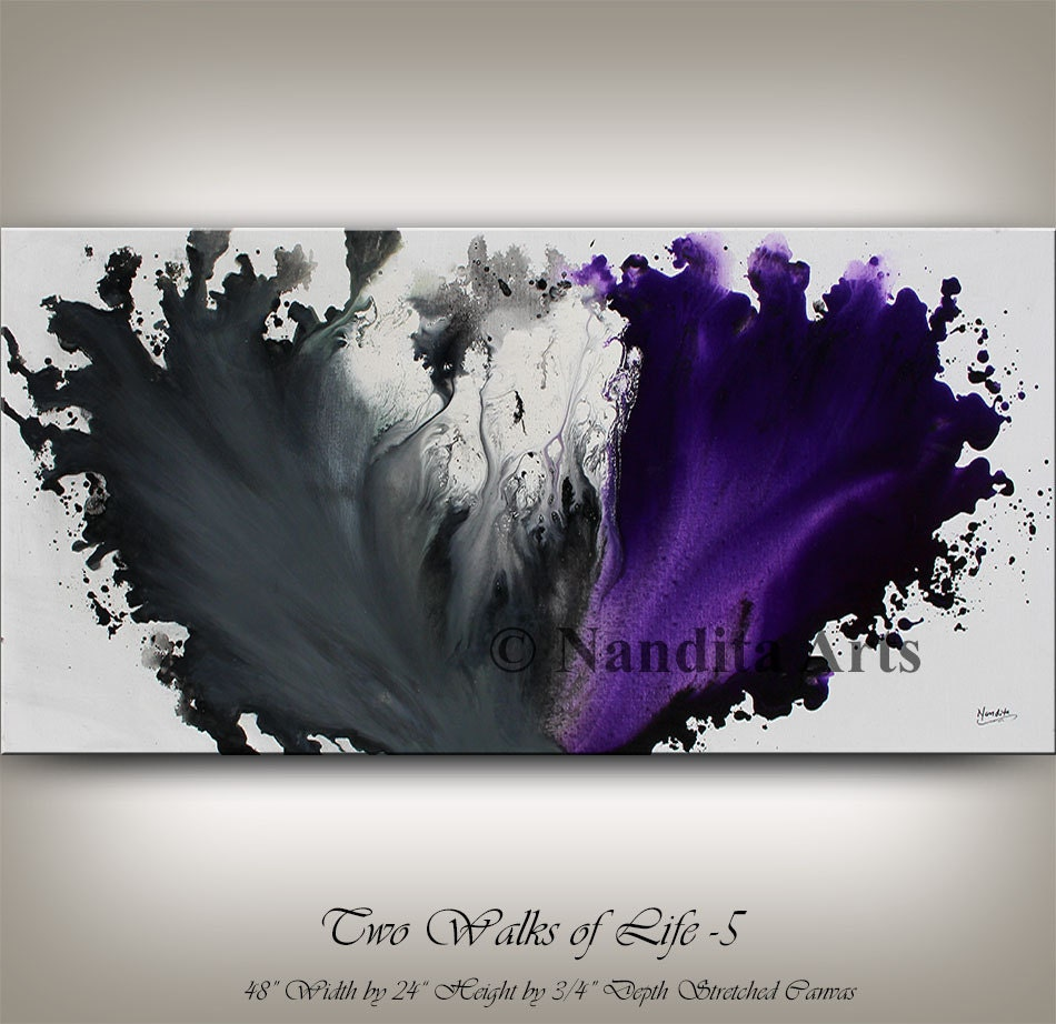 Purple and Grey Modern Painting Wall Art by ...
