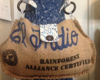 recycled upcycled coffee bean bag hobo bag tote purse