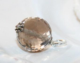 Faceted Smoky Quartz Charm Pendant, Sterling Silver, Nice Sparkle Smoky Quartz 12 mm Bead