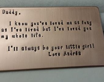 Father of bride gift, wedding gift for Groom, custom wording!