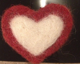 Needle Felted Red and White Heart Pin
