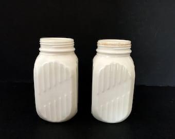 Pair Ivory Glass Hoosier Shaker Jars