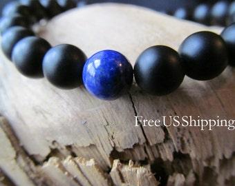 Matte Black Onyx Bracelet with Lapis Lazuli, Black Bracelet,Onyx Bracelet, Stacking Bracelet, Gift for Men, Men's Jewelry, Beaded Bracelet