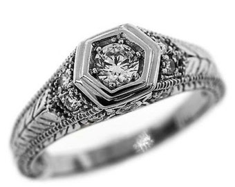0.40 Cttw Round Diamonds Solitaire with Accents Engagement Ring in 14K White Gold