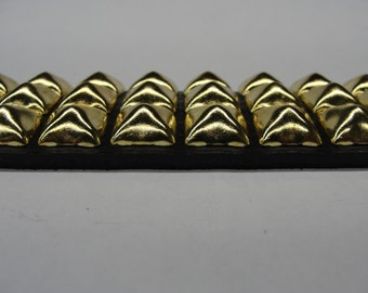 """1-3/4"""" (45mm) wide Genuine Leather Belt with 3 rows 1/2"""" (13 mm) PY-77 Pyramid Square Studs Brass/Golden Studded Spiked Made in U.S.A. NYC"""