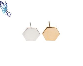 Hexagon Stud Earrings, Sterling Silver, 14k Gold Filled, Geometric Earrings, Post Earrings, Minimalist, Dainty, Modern, Everyday, GFER104
