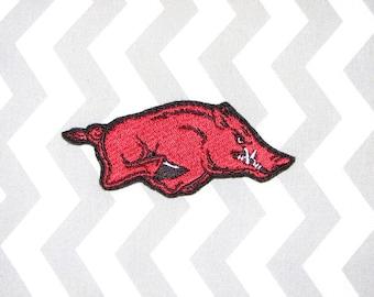 Arkansas Razorbacks Iron on No Sew Embroidered Patch Applique