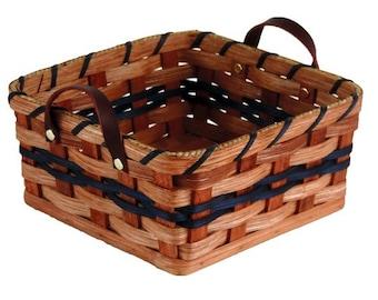 Amish Handmade Paper Towel Holder Basket With Wooden Lid