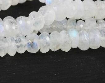 Rainbow Moonstone Rondelles 6mm to 6.7mm Faceted Moonstone Rondelles, Quarter, or Half Strand, Blue Fire Moonstone Clear White Gems KJ