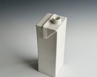 Milk carton vase handbuilt