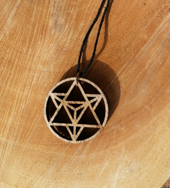 Star Tetrahedron Oak Wood Pendant - Sacred Geometry