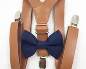 FREE DOMESTIC SHIPPING! 1 inch light brown faux leather suspenders and navy blue bow tie wedding pictures birthday formal
