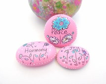 Hand Painted River Stones, Painted River Stones, Rock Art, Garden Rocks, Pink Painted River Stones, Inspirational River Stones - JOYFUL