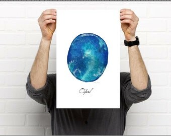 Blue opal print, opal, opal painting,opal art, mineral art, mineral print, blue opal, mineral art print, opal illustration, crystal, opalo