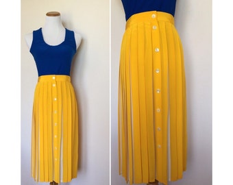 Yellow and White Pleated Skirt