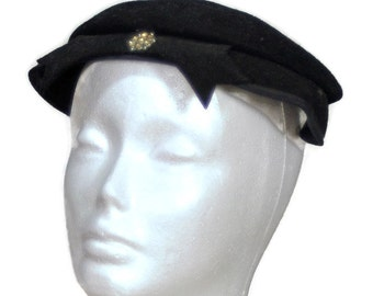 1950's Fascinator. WESCO Black Felt Hat with Sequin Made in the USA