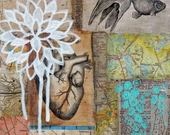 When the Wind Changed Direction - original, collage art, mixed media