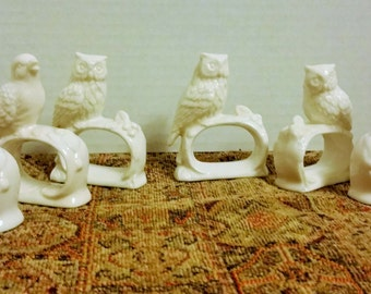 Set of 8 Vintage Porcelain Bird Napkin Rings